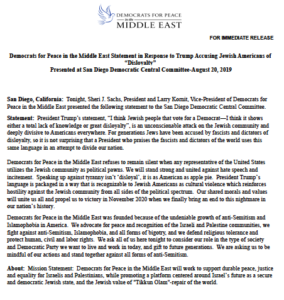 Statement of Democrats for Peace in the Middle East. (PDF)