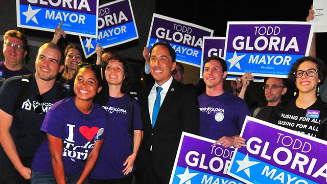 """Assemblyman Todd Gloria poses with supporters dubbed the """"Todd Squad"""" after endorsement by county Democratic Party."""