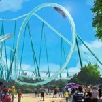 Artist's rendering of SeaWorld San Diego's new dive coaster under construction.