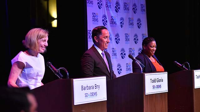 Democrats Barbara Bry, Todd Gloria and Tasha Williamson took part in the first mayoral debate of the season.