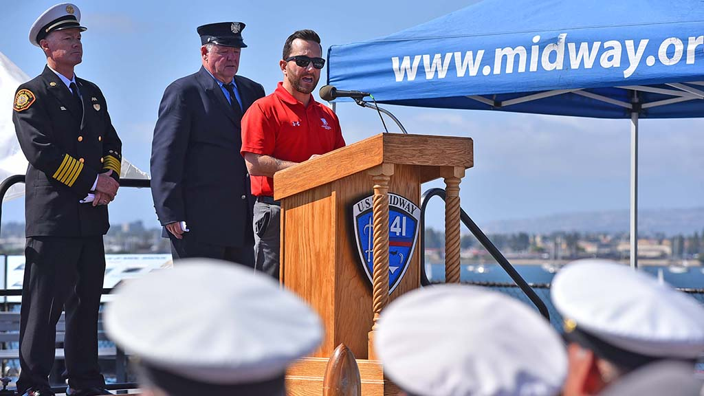 Army Staff Sgt. Jeremiah Pauly was the guest speaker at the 18th annual 9/11 USS Midway Memorial Service.