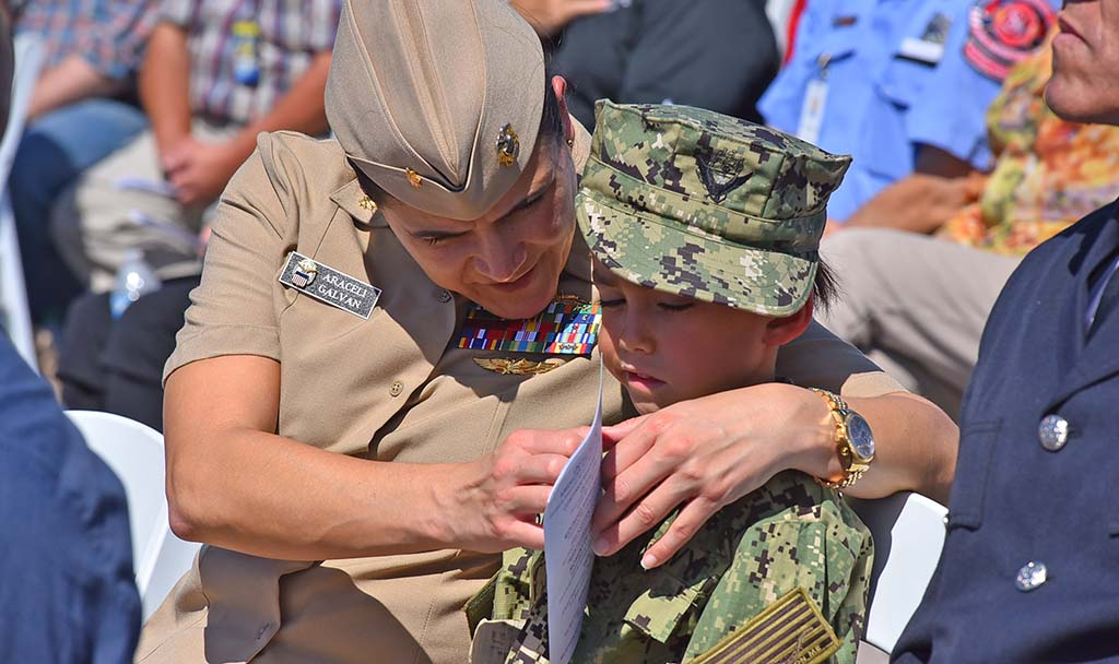 Navy Lt. Cmdr. Araceli Galvan and her son, Dario, attended the 18th annual 9/11 USS Midway Memorial Service. Photo by Chris Stone