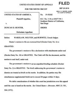 9th Circuit order granting Rep. Duncan D. Hunter a hearing in December.