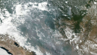 Smoke from fires in the Brazilian rainforest