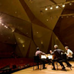 Trio practices at Conrad Prebys Concert Hall