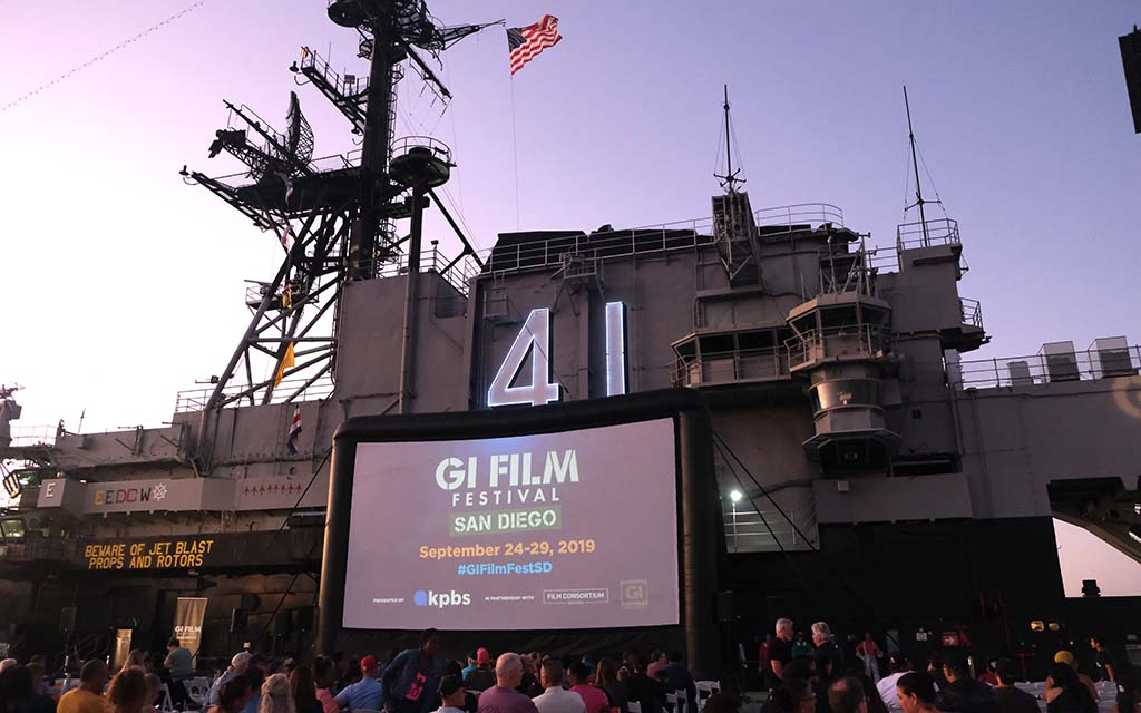 The USS Midway advertised the upcoming GI Film Festival is organized by KPBS. Photo by Chris Stone