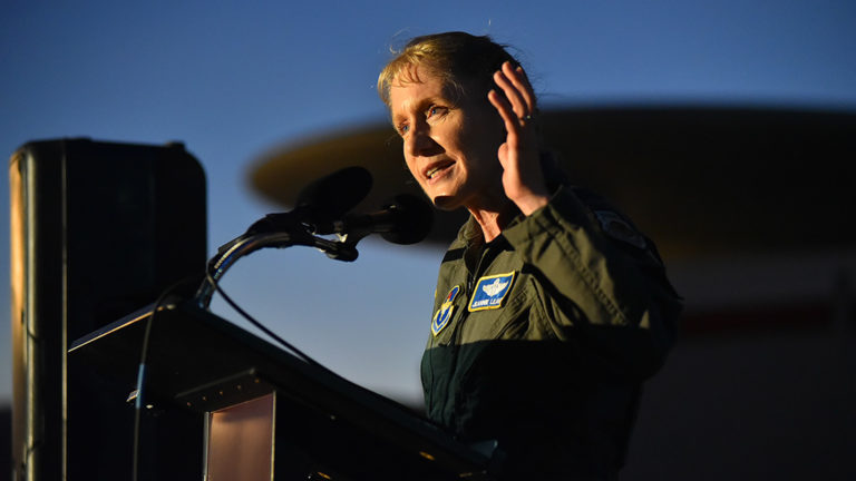 "Maj. Gen. Jeannie Leavitt speaks to a crowd of hundreds aboard the USS Midway before the screening of ""Captain Marvel."" Photo by Chris Stone"