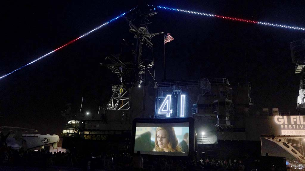 "The annual Family Movie Night aboard the USS Midway, sponsored by KPBS, featured ""Captain Marvel."" Photo by Chris Stone"
