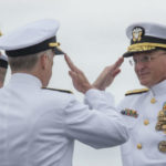 Change of command ceremony aboard USS Theodore Roosevelt