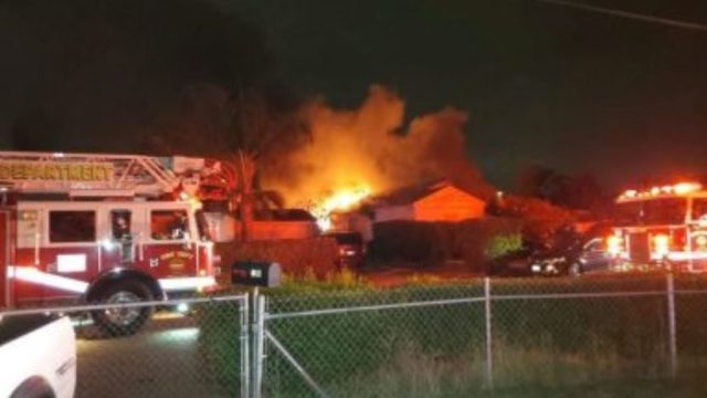 Flames from the burning house in Chula vista