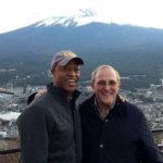 Willie Banks and IAAF campaign helper Tracy Sundlun of Santee pose with Japan's Mt. Fuji in background.