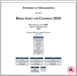 Record of state Sen. Brian Jones campaign committee for Congress.