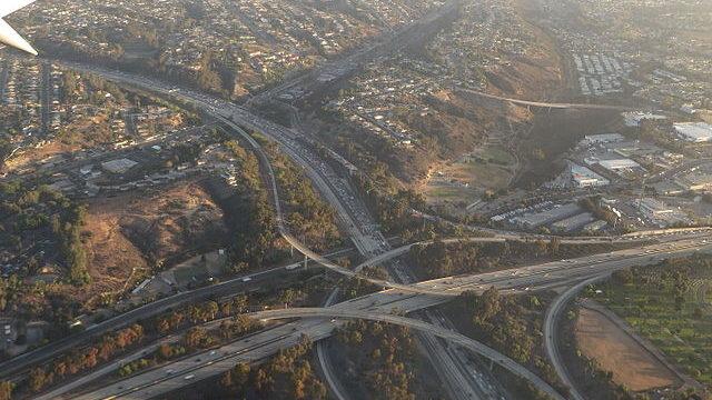 Aerial view San Diego freeway