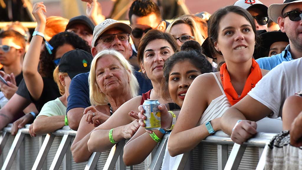 Fans of OneRepublic watch the performance at KAABOO Del Mar.