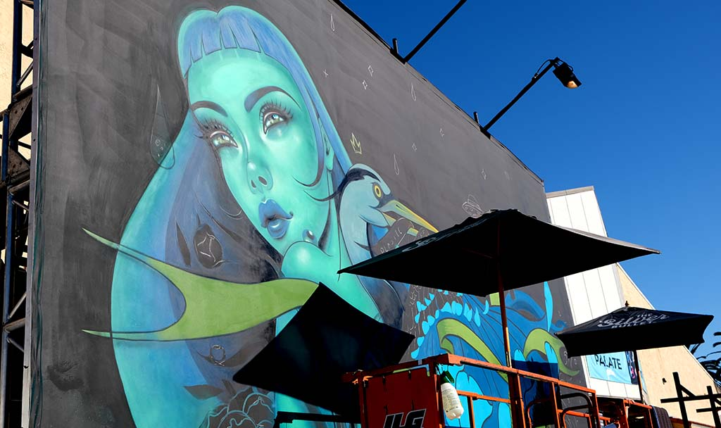 Artist Caia Koopman was in the process of completing a mural with a climate change theme at KAABOO Del Mar.