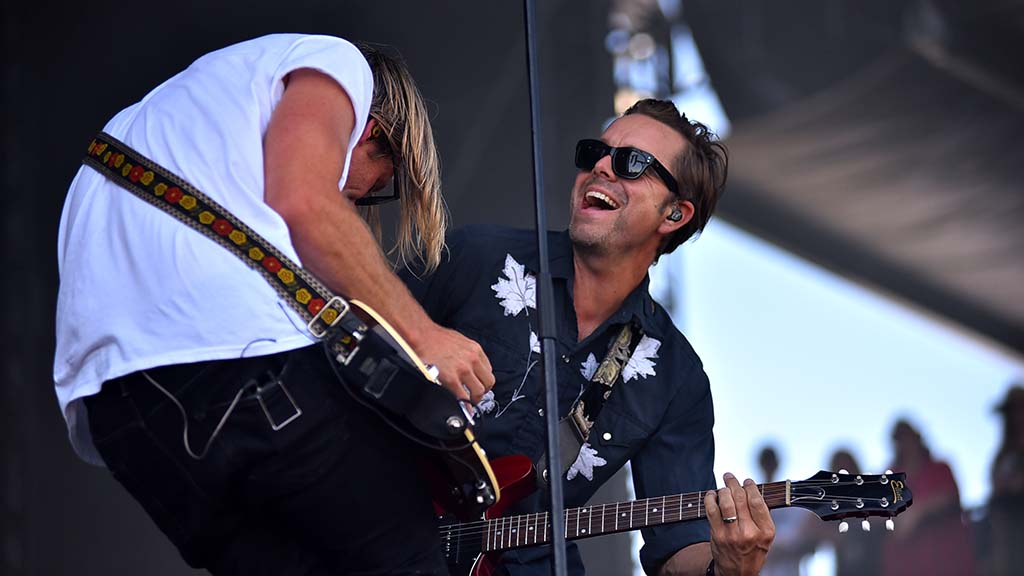 Jon Foreman (left) and Andrew Shirley of Switchfoot perform together at the Sunset Cliffs stage at KAABOO Del Mar. Photo by Chris Stone