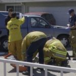 Paramedics at the scene of the crash