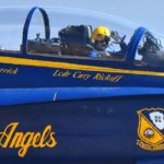 Blue Angels pilot Lt. Cmdr. Cary Rickoff waves just before takeoff.