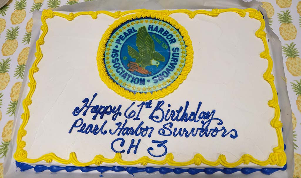 A cake was bought at Marine Corp Air Station Miramar for the gathering.