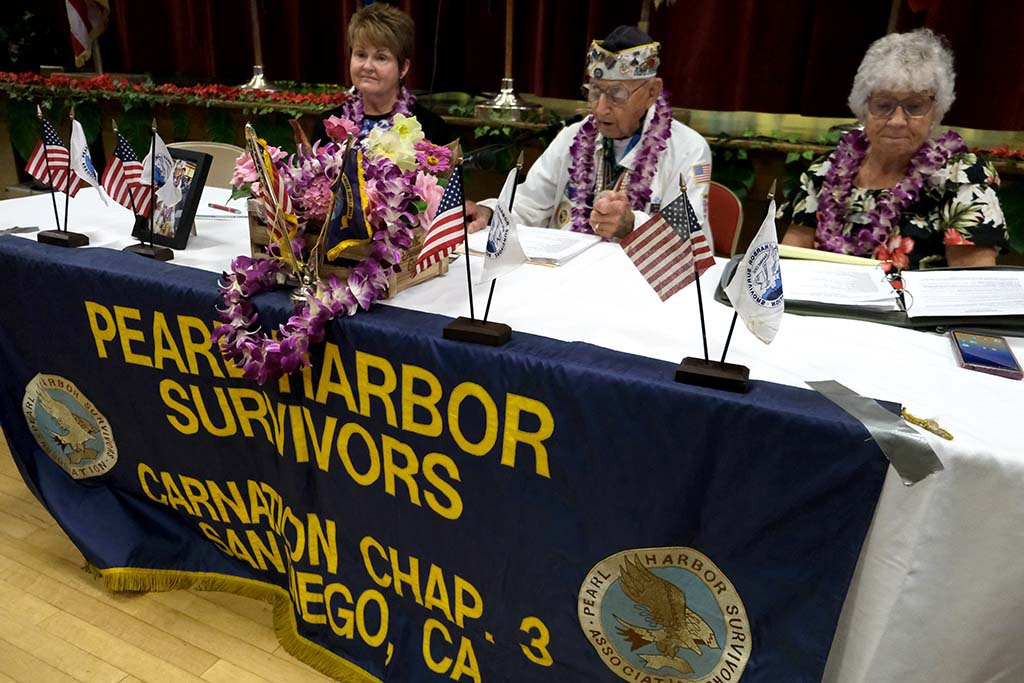 Stu Hedley led the final meeting of the Pearl Harbor Survivors, Carnation Chapter 3 along with Kathy Tinsley (left) and Nancy Evans.