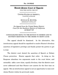 San Diego prosecutors' response to Rep. Duncan Hunter's request for appeal hearing. (PDF)