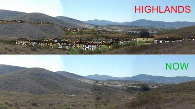Opponents of San Marcos Highland produced this before and after image.