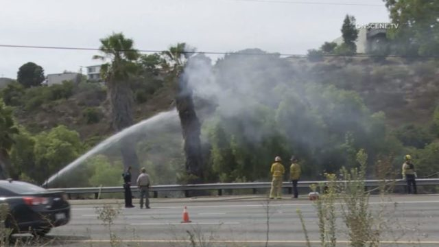 A San Diego Fire-Rescue crew battles a small brush fire
