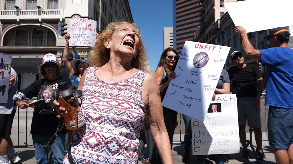 A Trump supporter shouts her frustration with protestors across the street from the fundraiser.