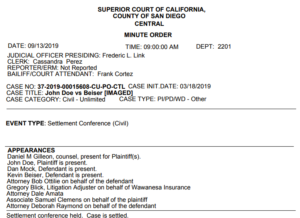 "San Diego Superior Court ""minute order"" in Kevin Beiser case."