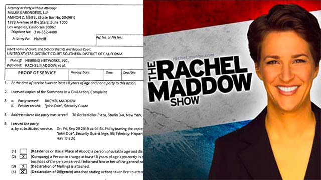 It took a New York-based process server four times to leave OAN complaint with Rachel Maddow.