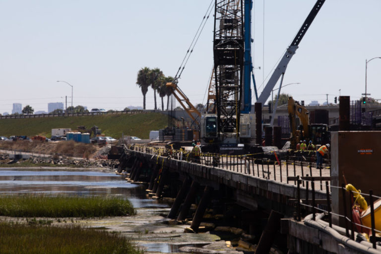 Construction work on the West Mission Bay Drive bridge is shown in this photo from Aug. 26, 2019. Money allocated through the Rebuild San Diego ballot measure is funding this project.