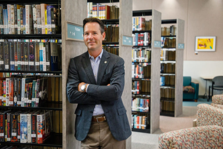 City Councilman Mark Kersey is photographed at the Rancho Pensaquitos Library, Aug. 14, 2019. Upcoming projects at the library will be funded using money allocated from the Rebuild San Diego ballot measure.