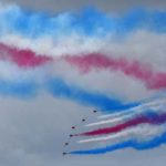 The Royal Air Force Red Arrows wowed the crowd with colorful formations and maneuvers Saturday.