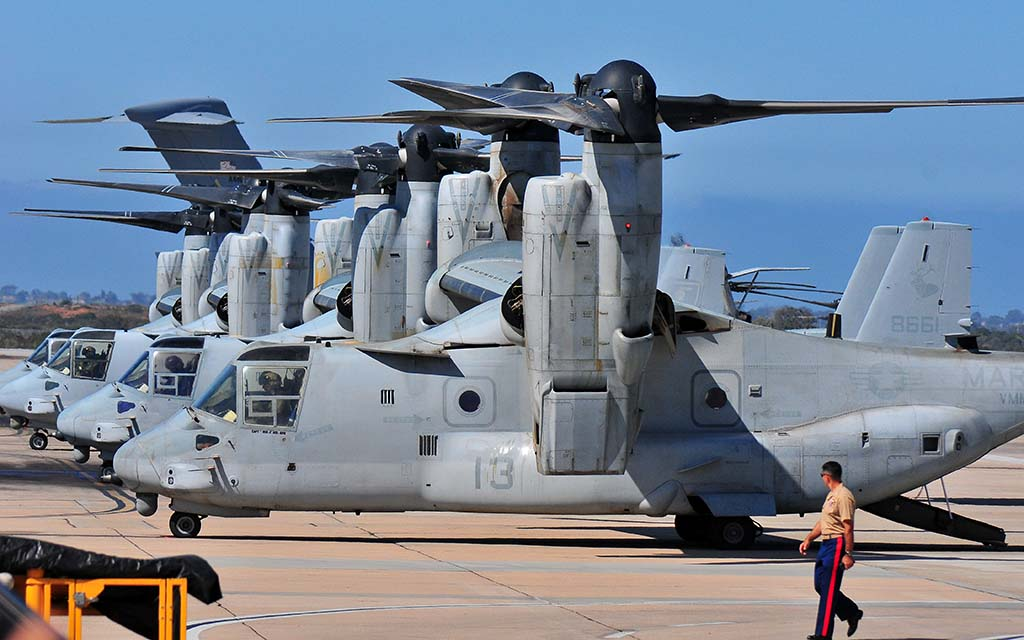 Ospreys await to ferry national press to San Diego International Airport.