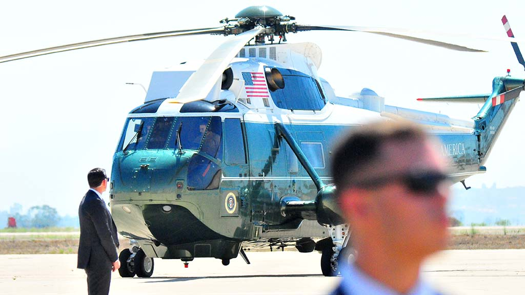 Marine One prepares to leave with President Trump for San Diego International Airport.