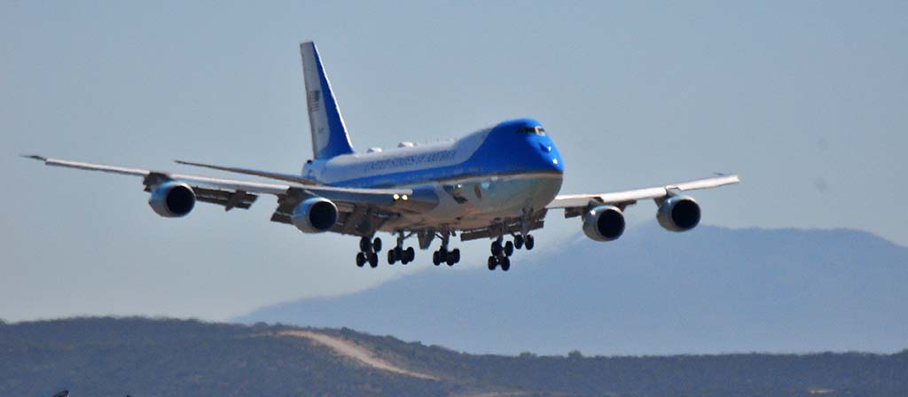 Air Force One is wheels-down for landing at Marine Corps Air Station Miramar.
