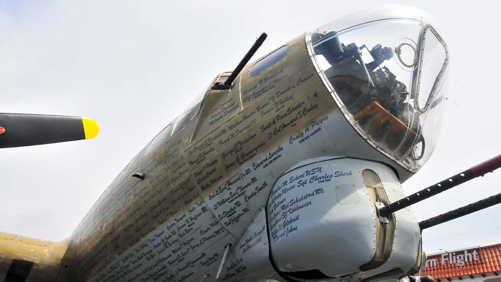 The B-17 Flying Fortress that crashed Wednesday in Connecticut was toured in May at McClellan-Palomar Airport.