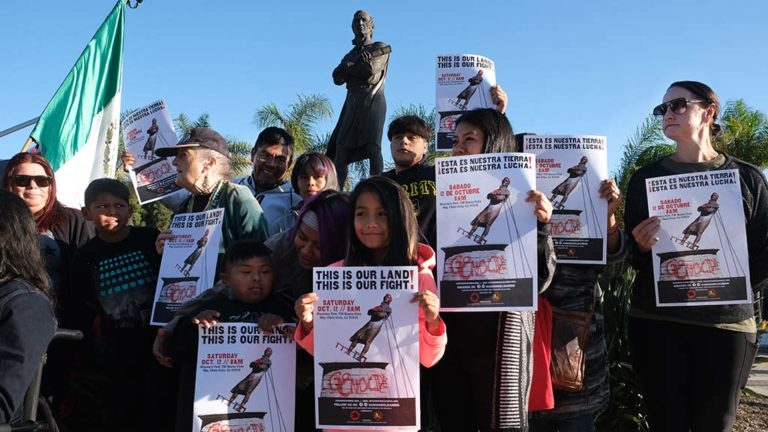 About 40 participants kicked off a campaign to remove a statue of Christopher Columbus from Discovery Park in Chula Vista.