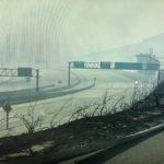 Deserted freeway iin the burn area