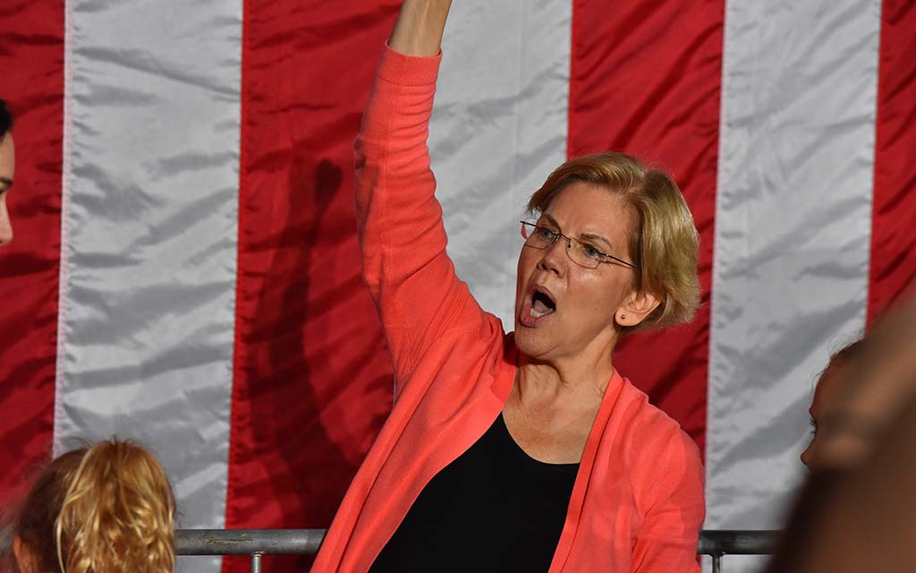 "Sen. Elizabeth Warren called for courage to enforce antitrust laws, saying: ""And yes, Mark Zuckerberg, I'm looking at you."""