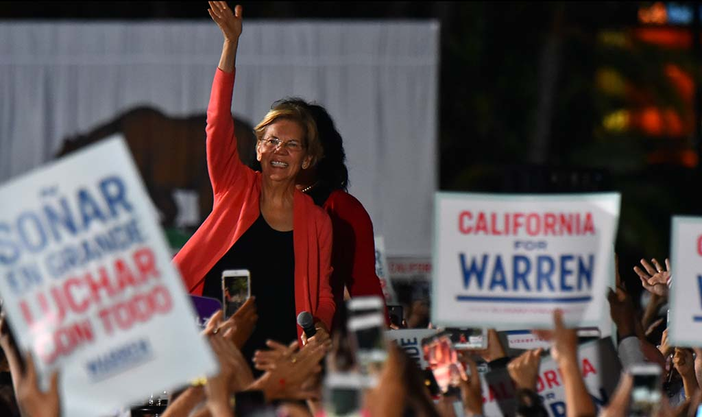 Sen. Elizabeth Warren waved and paced back and forth in a display of energy and enthusiasm at San Diego rally.