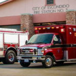 Emergency vehicles outside a fire station in Escondido