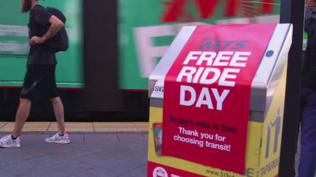 Sign promoting free ride day