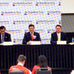 At GOP debate, 53rd District candidates (from left) were Rep. Duncan D. Hunter, former Rep. Darrell Issa, state Sen. Brian Jones and former San Diego Councilman Carl DeMaio. Tony Krvaric, party chair, moderated.