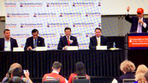 At GOP debate, 50th District candidates (from left) were Rep. Duncan D. Hunter, former Rep. Darrell Issa, state Sen. Brian Jones and former San Diego Councilman Carl DeMaio. Tony Krvaric, party chair, moderated.