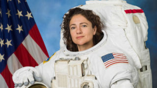 Jessica Meir in a spacesuit