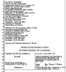 Joint motion for delay of Margaret Hunter sentencing. (PDF)