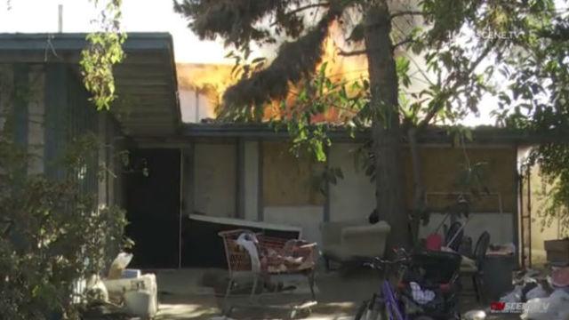 Verlassene Haus in Lincoln Park Nachbarschaft Beschädigt in Brand
