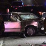 Police examine wrecked Mercedes-Benz