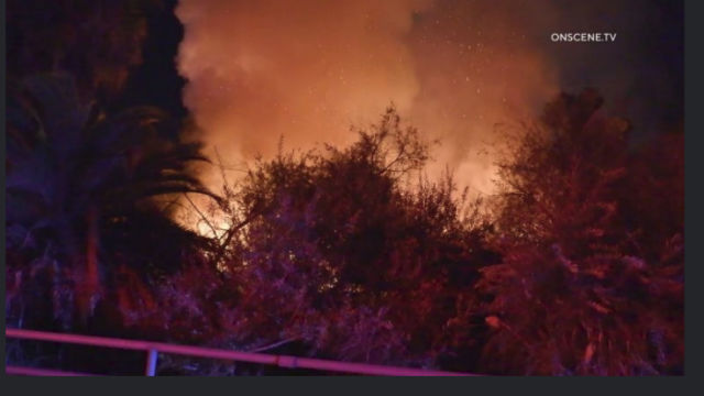 Flames for fire off Interstate 805